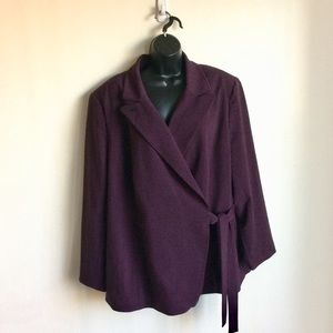 Lane Bryant Side Tie Lined Jacket Plum Size 24